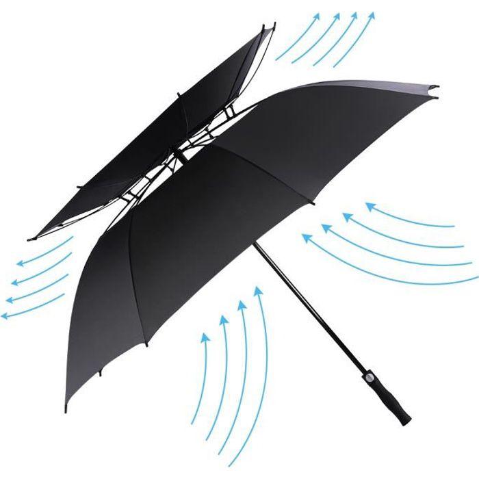Parapluie ouvert automatique de golf, double auvent de 62 pouces ventilé coupe-vent imperméable-noir