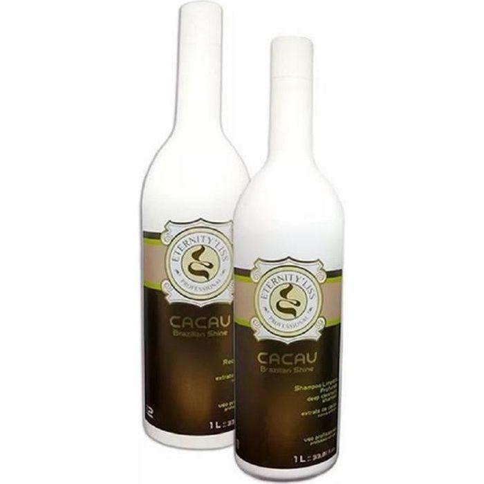 Lissage Keratine Eternity Liss Cacau Traitement de Lissage des Cheveux (Shampoing et Kératine)