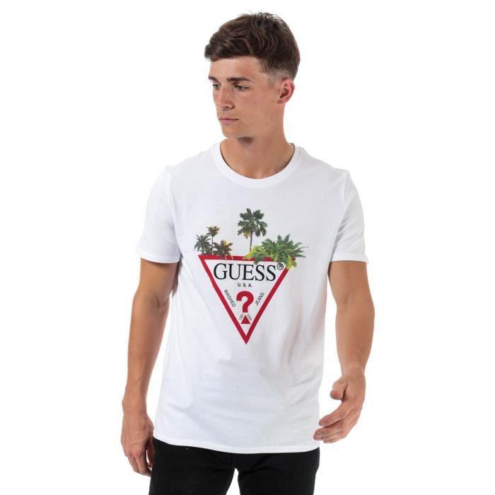T-Shirt Guess Palm Tree Pour Homme En Blanc.