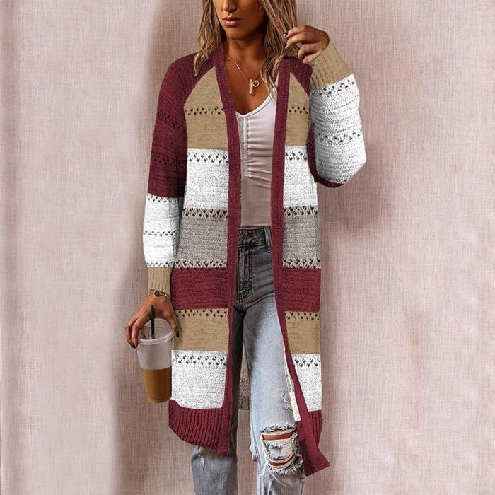 Gilet Femme Cardigan Comfy Élégant Stitching Pull à manches longues Cardigan long décontracté @Rouge