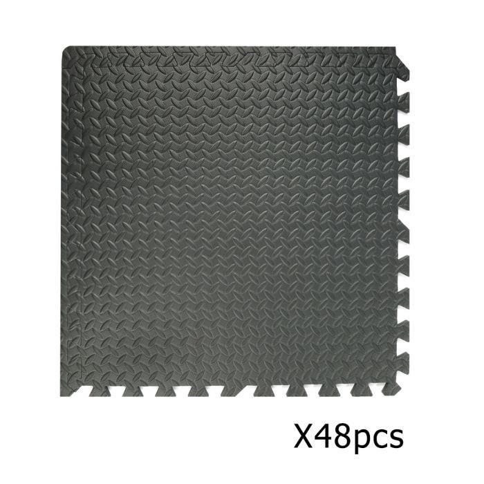 48 pièces Coussin en mousse EVA Tapis de fitness Tapis isolant Tapis de yoga Antidérapant imperméable Noir