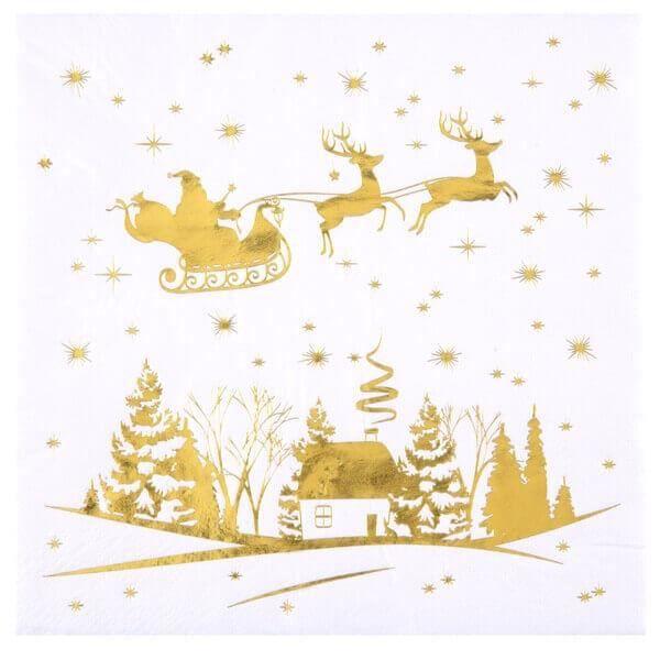 Serviette de table blanche et dorée métallisée cerf enchantée de Noël (x20) REF/7008
