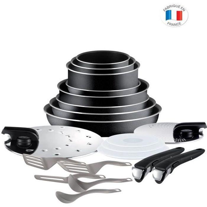 INGENIO ESSENTIAL L2009702 Batterie de cuisine - 20 pièces - Noir - Tous feux sauf induction