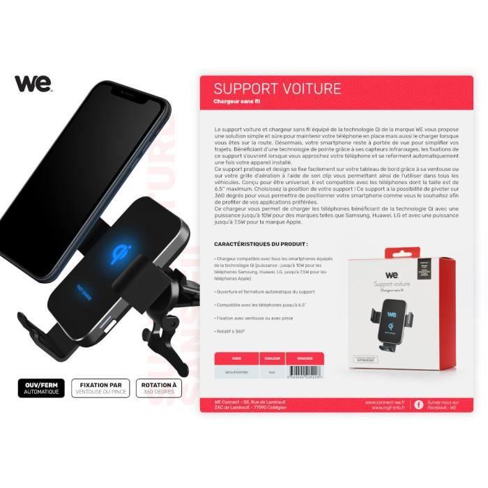 WE Support Smartphone Chargeur Sans Fil Voiture - Fixation Ventouse sur le Pare-Brise Grille d'aération Jusqu'à 6.5- - Technologie