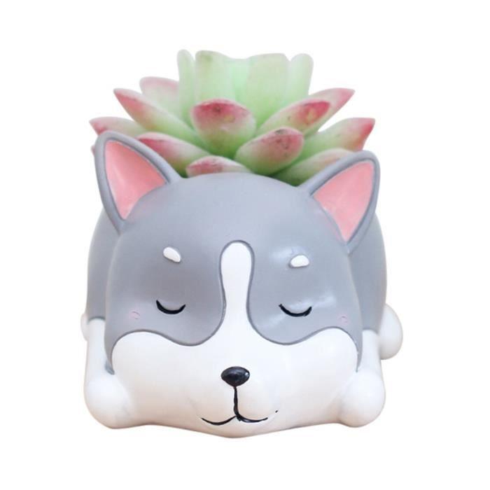 JARDINIÈRE - BAC A FLEUR Beau chien de corgi plante en forme de décoration