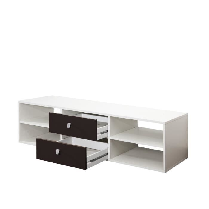 cherry meuble tv 148 cm blanc et noir achat vente meuble tv cherry meuble tv 148 cm. Black Bedroom Furniture Sets. Home Design Ideas