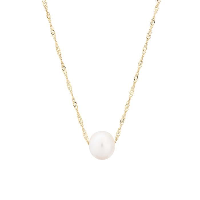collier perle or femme