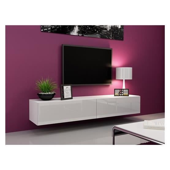 Meubletv design suspendu vito 180 blanc achat vente for Meuble tv a suspendre