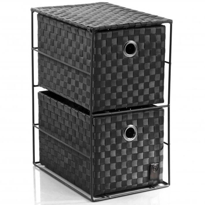 meuble de rangement 33 cm 2 tiroirs noir achat. Black Bedroom Furniture Sets. Home Design Ideas