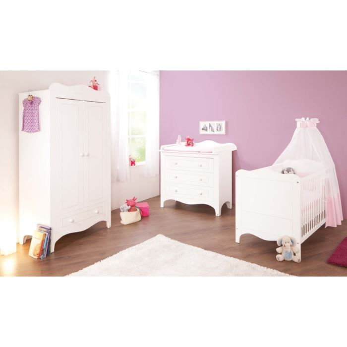 chambre b b fleur blanc lit volutif commode achat. Black Bedroom Furniture Sets. Home Design Ideas