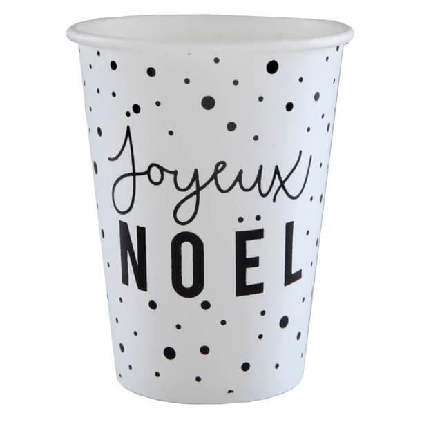 Gobelet Joyeux Noël Noir Et Blanc X10 Ref5635 Achat
