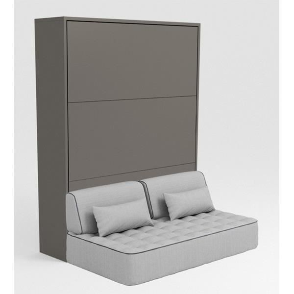 armoire lit escamotable stone 160x200 gris canap achat vente lit escamotable cdiscount. Black Bedroom Furniture Sets. Home Design Ideas