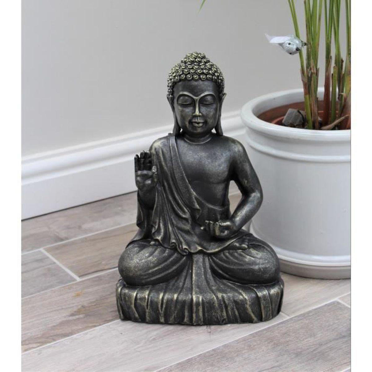 Sculpture Femme Ronde Colorée statue bouddha effet bronze extérieur intérieur décoration zen 40 cm