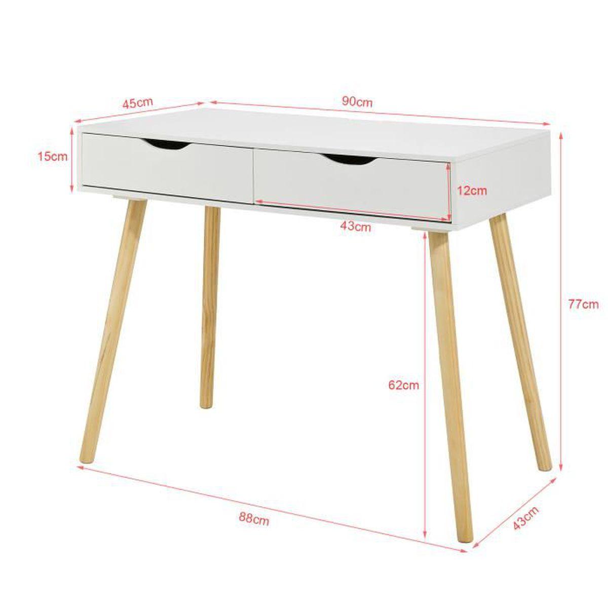 Bureau Secretaire Petit Espace sobuy® fwt40-wn table de bureau informatique secrétaire table plan de  travail avec 2 tiroirs
