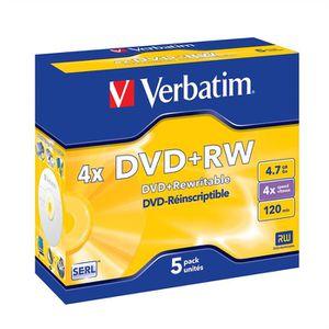 CD - DVD VIERGE Verbatim DVD+RW 4.7 Go 4x (5)