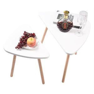 TABLE BASSE Lot de 2 tables basses gigognes scandinave blanc