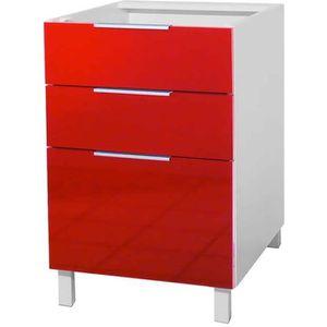 ELEMENTS BAS Meuble bas 3 tiroirs – 60cm - Rouge