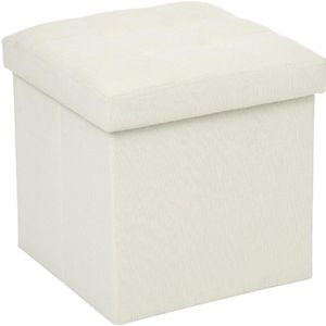 pouf carr blanc cass coffre de rangement achat vente pouf poire cdiscount. Black Bedroom Furniture Sets. Home Design Ideas