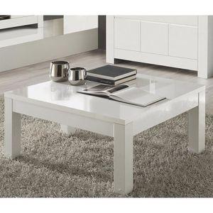 TABLE BASSE Table basse carré blanc laqué design FLAVIE L 100