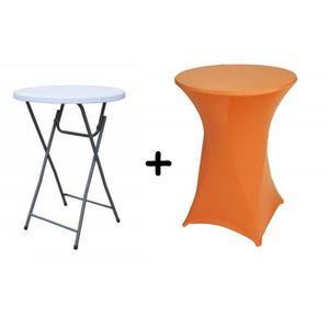 Table haute bar pliante mange debout + Housse orange - Achat ...