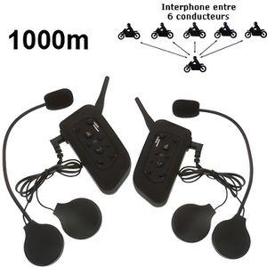 INTERCOM MOTO Kit 2 pièces Interphone moto 1KM (maxi 6 personnes