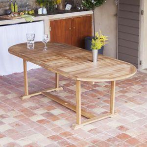 Table de jardin ovale à rallonge en Acacia 180/237cm couleur ...