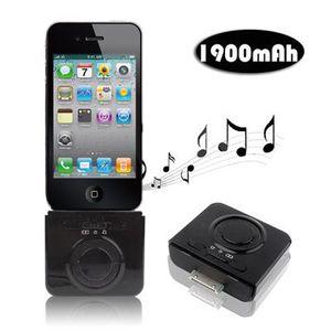STATION D'ACCUEIL Enceinte batterie 1900 mah iPhon iPod 2 en 1 Noir