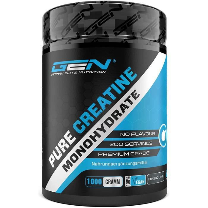 Créatine en poudre - 1kg - 1000 g - Créatine pure monohydrate - Solubilité optimale - Vegan - Sans additifs - Poudre pure - Ge[730]