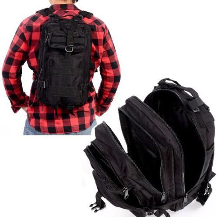 Sac à Dos Tactique Extensible 3P 800D 40L Backpack Technique Randonnée Camouflage Multi-Poche Noir pour Homme Femme