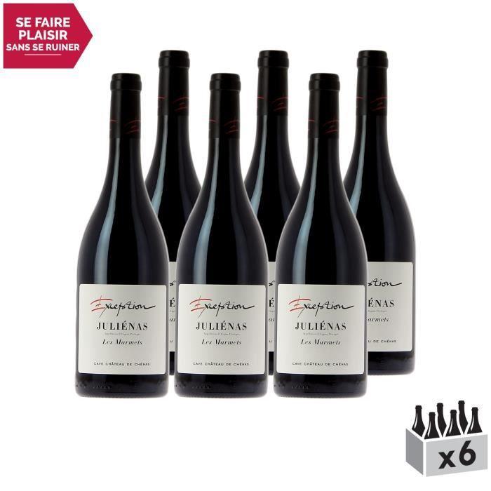 Juliénas Les Marmets Cuvée d'Exception Rouge 2018 - Lot de 6x75cl - Cave du Château de Chenas - Vin AOC Rouge du Beaujolais -