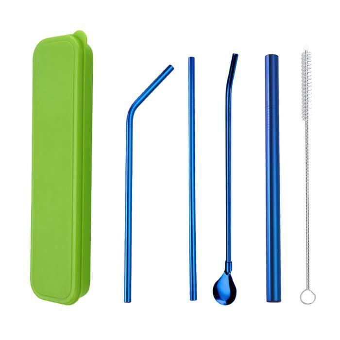 Ensemble de paille en acier inoxydable 304 coloré Ensemble de 4 pièces de paille bleue en boîte verte