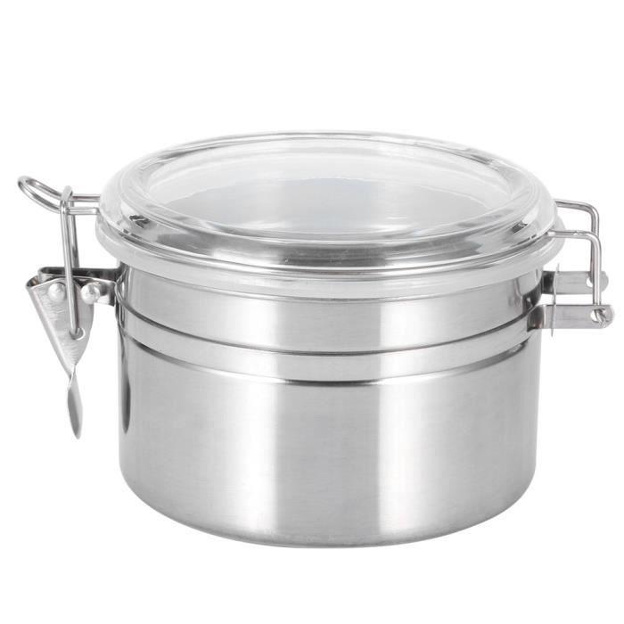 Pot Scellé de Thé en Grains de Café en Acier Inoxydable Conteneur de Stockage pour Céréales à Sucre(12,5x7,5 )-NIM