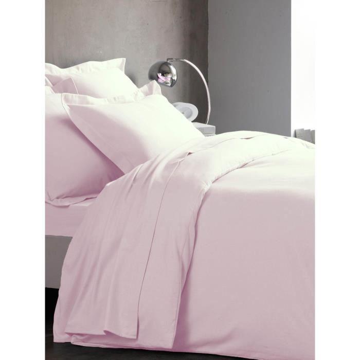 Housse de couette flanelle unie, 240x220 couleur Rose poudré