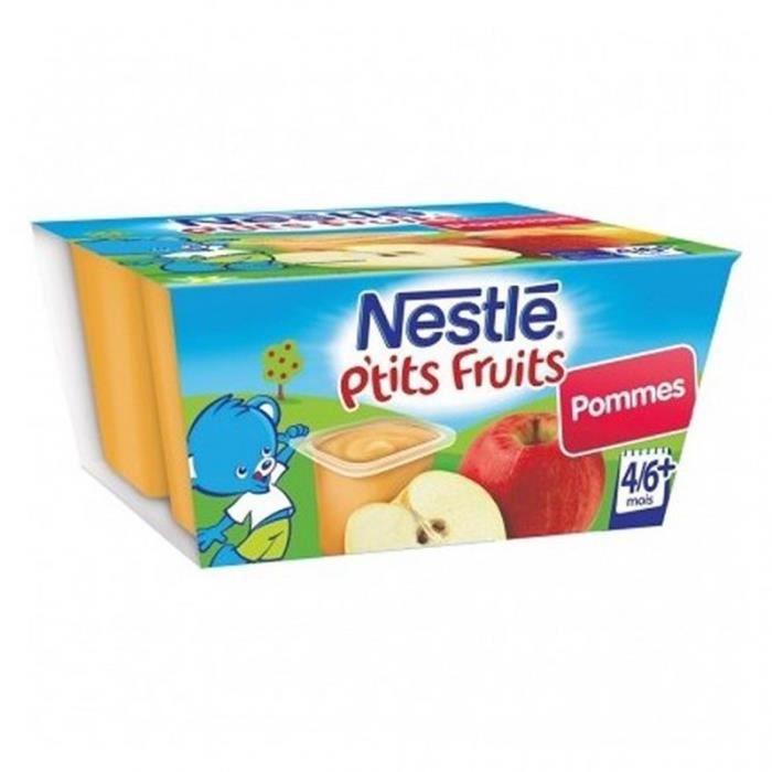 Nestlé P'tit Fruits Pommes (+4-6 mois) par 4 pots de 100g (lot de 8 soit 32 pots)