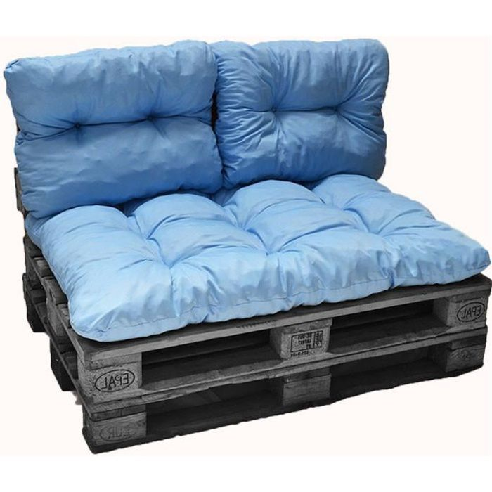 Kit coussins palette bleu clair 1 assise + 2 dossiers 120x80 cm