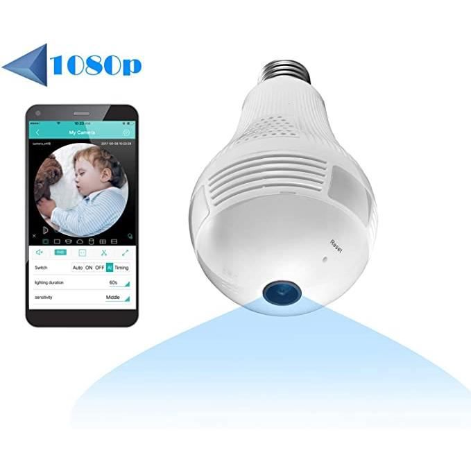 BABY PHONE - ECOUTE BEBE,Caméra WiFi domestique Full HD 1080P Sécurité sans fil panoramique 360 degrés, caméra IP pour - Type WHITE