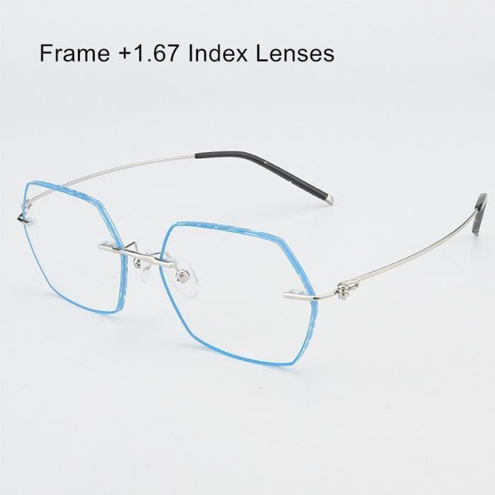 Montures de Lunettes de vue,Lunettes photochromiques hexagonales sans bords Lunettes lecture de la myopie - Type Silver 167 Lenses