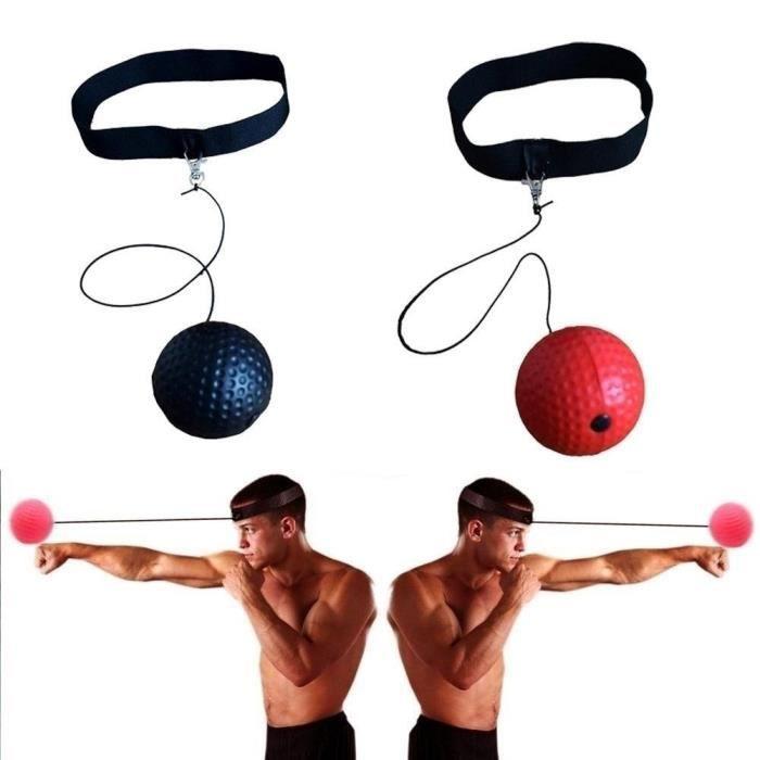 Beau rouge Boxe Fight Ball Reflex Boxer Head Cap avec String et Tennis Ball Gym Equipment pour Trai rouge