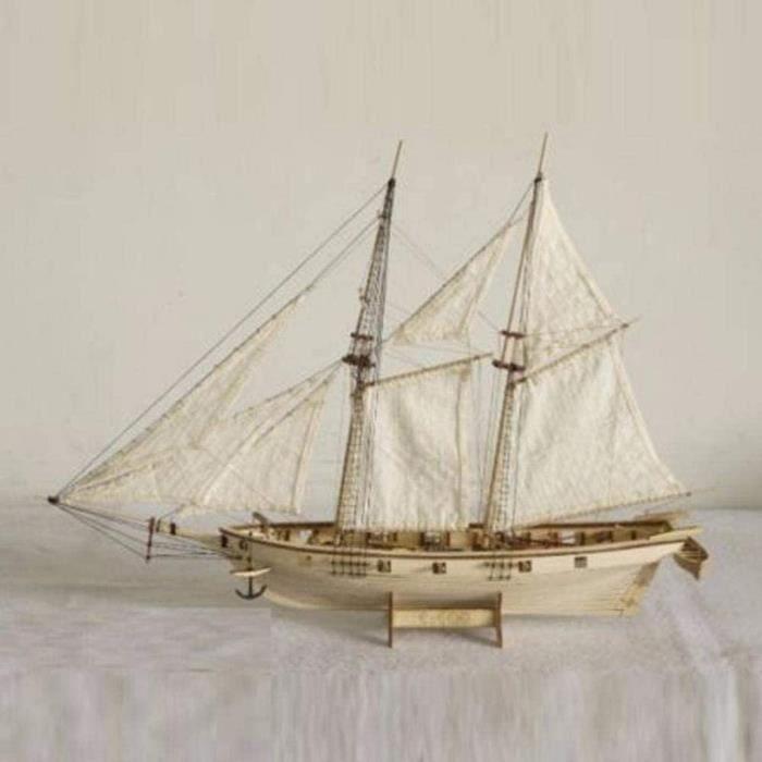 Maquette de bateau en bois maquette de bateau kit d'assemblage de bateau modèle 1:100 échelle à la main en bois voilier kit cad 540