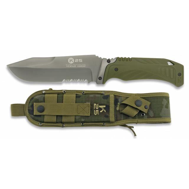 Couteau tactique Rui Vert avec scie, lame 12.7 Cm, taille totale 25.1 Cm, épaisseur 5 mm, 32073