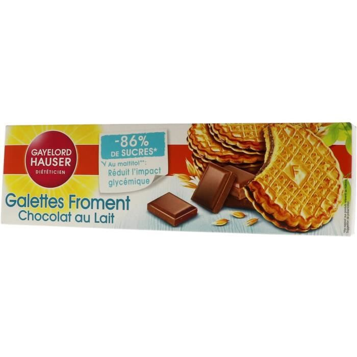 Gayelord Hauser Galettes Froment Chocolat au lait - Biscuits réduits en sucres - 120 g - Lot de 5