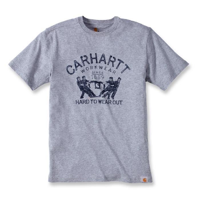 T-shirt coton manches courtes avec logo Vintage gris chiné M CARHARTT S1102097034M Gris Chiné