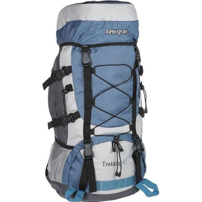 ASPENSPORT Backpack Trekking - Sac à dos 65 Litres Bleu et Blanc