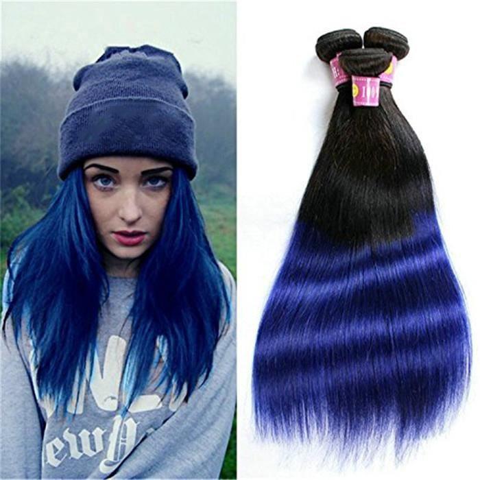 3PCS Paquet de cheveux straight hair brésiliens 100g-p Ombre Noir-Bleu 18 18 18 Pouces