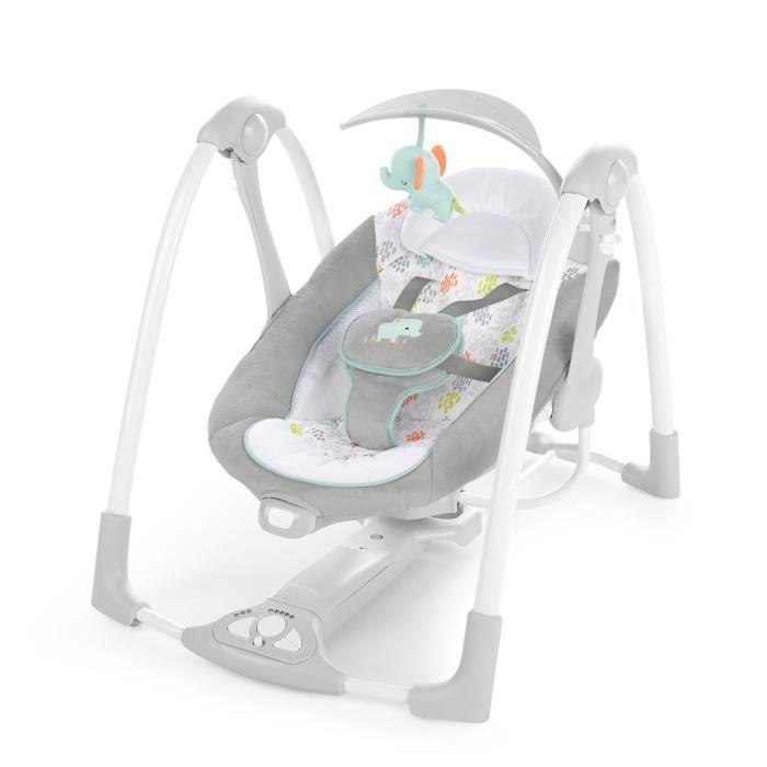 INGENUITY Balancelle bébé compacte Wimberly, Piles ou secteur, 5 Vitesses de Balancement, Vibrations Apaisantes, 12 Mélodies