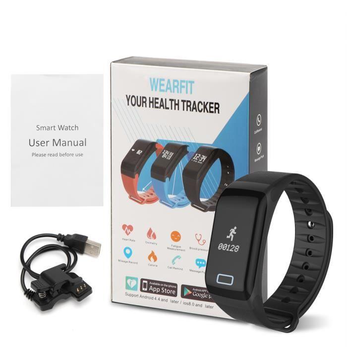F1 Bluetooth 4.0 Bracelet intelligent de fréquence cardiaque Smartband Fitness Tracker Réveil oxymétrie moniteur de tension artériel
