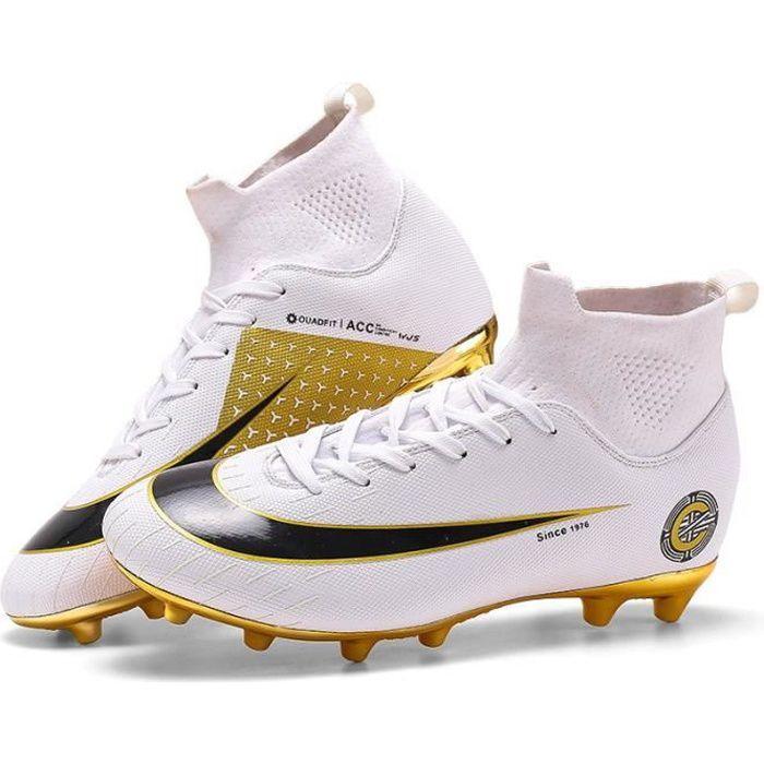 Chaussures de Football Homme Crampon High Top Profession Athlétisme Entrainement Chaussures de Foot Unisexe
