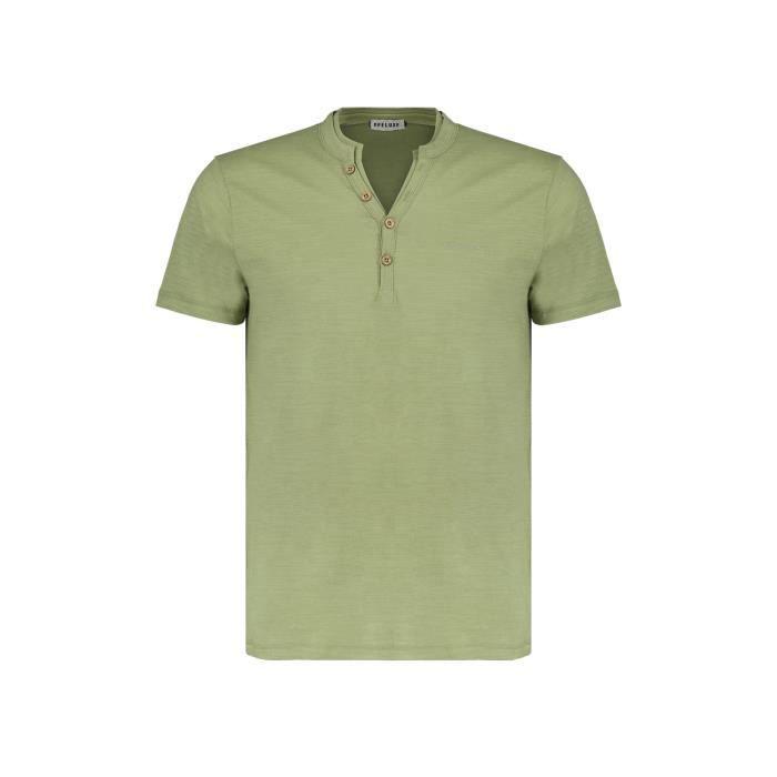 DEELUXE T-shirt à col boutonné KALONI Olive