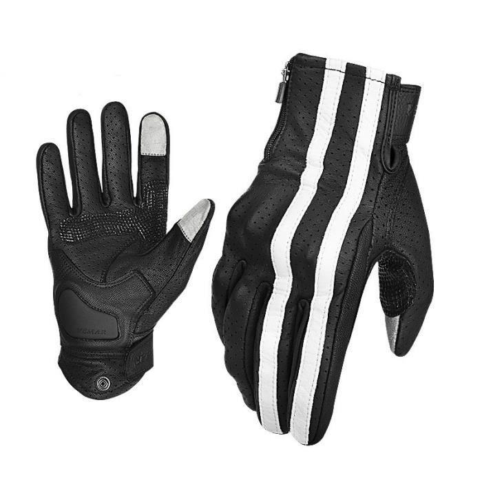 Gants de moto,VEMAR – gants de motard Vintage en cuir pour course de Moto, Guantes Luvas, pour Motocross, pour écran tactile