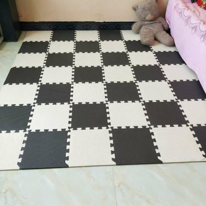 10pcs 30 * 30 cm tapis de sol en mousse domestique tapis en plastique hydrofuge chambre Tatami salon salleadapte bebe noir